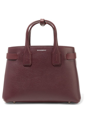 Burberry - Textured-leather And Checked Canvas Tote - Burgundy