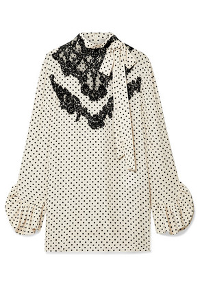 Valentino - Lace-trimmed Polka-dot Silk-georgette Blouse - Ivory