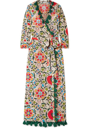 Rhode Resort - Lena Tasseled Printed Cotton-voile Maxi Dress - Green
