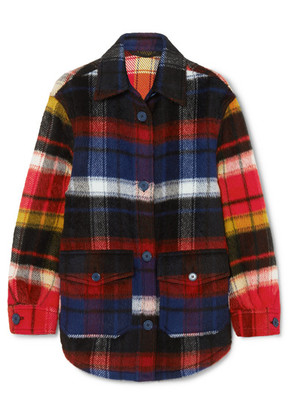 Burberry - Checked Brushed Alpaca And Wool-blend Shirt - Navy
