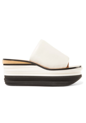 Chloé - Camille Leather Wedge Sandals - White