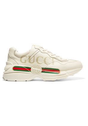 Gucci - Rhyton Printed Leather Sneakers - Cream