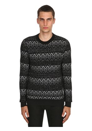 ZIGZAG WOOL KNIT SWEATER WITH LUREX