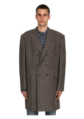 DOUBLE BREASTED WOOL CHECK COAT