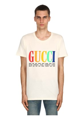 GUCCI CITY PRINT COTTON JERSEY T-SHIRT