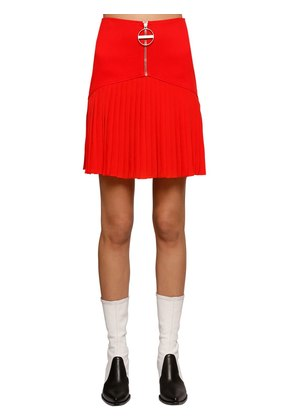 PLEATED WOOL CREPE & JERSEY MINI SKIRT