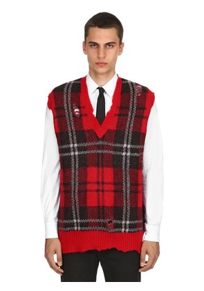 PLAID MOHAIR & WOOL V-NECK VEST