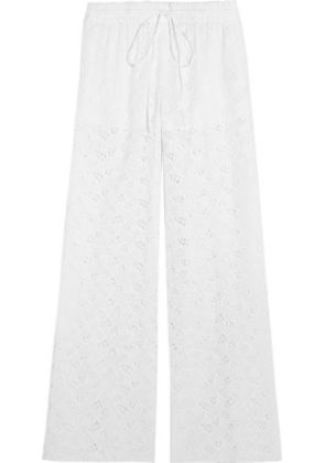 Valentino Woman Cotton-blend Broderie Anglaise Wide-leg Pants White Size 2