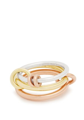 Raneth silver, yellow & rose-gold ring