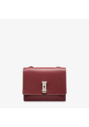 Bally Lou Red, Women's plain calf leather crossbody bag in dark red