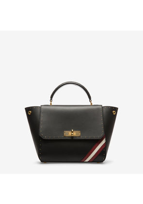 Bally B-Turn Small Black, Women's small calf leather top handle bag in black