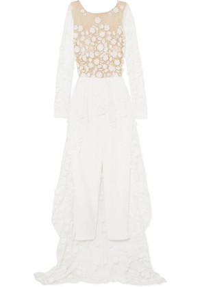 Rime Arodaky - Patsy Lace-trimmed Embroidered Tulle And Crepe Jumpsuit - White