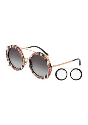 Round Clip-On Front Metal Sunglasses