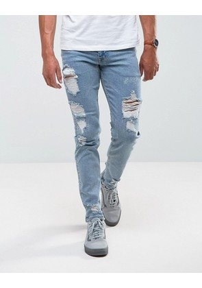 ASOS Stretch Slim Jeans In Vintage Light Wash With Heavy Rips - Light wash vintage