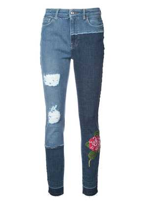 Dolce & Gabbana skinny patchwork jeans with floral embroidery - Blue