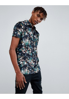 ASOS Polo With Revere Collar In Floral Velour - Black