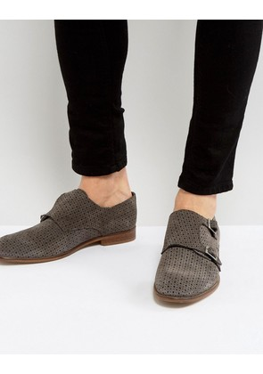 ASOS Monk Shoes In Grey Suede With Perforated Detail - Grey