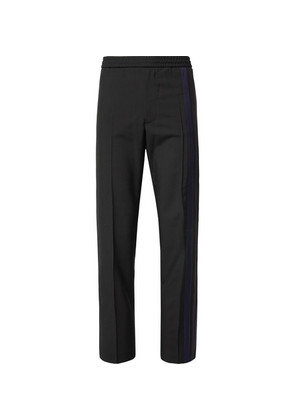 Valentino - Striped Wool And Mohair-blend Drawstring Trousers - Black