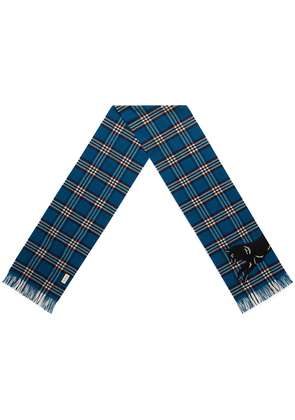 Gucci check scarf with wolf embroidery - Blue