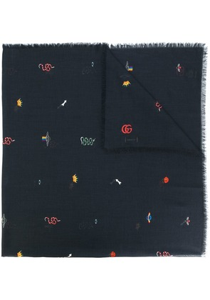 Gucci embroidered scarf - Black