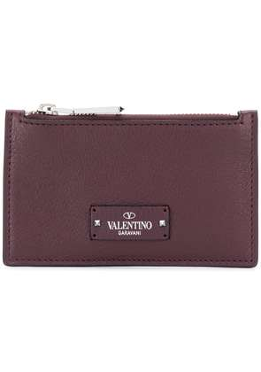 Valentino logo patch coin purse - Brown