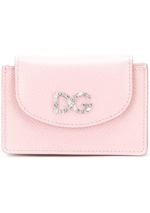 Dolce & Gabbana crystal logo card holder - Pink & Purple