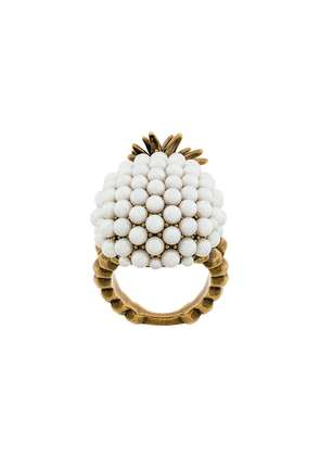 Gucci faux pearl embellished pineapple ring - Metallic