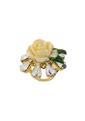 Dolce & Gabbana crystal rose ring - White