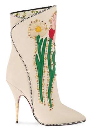 Gucci Cream Flowers 110 leather boots - White