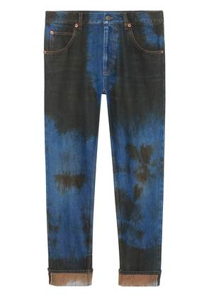 Gucci Washed denim loose tapered pant - Blue