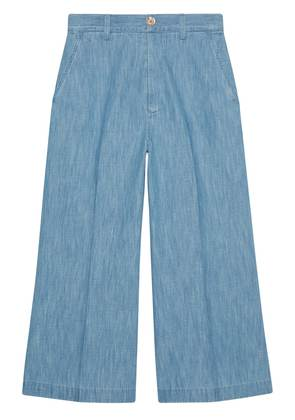 Gucci Embroidered denim culotte pant - Blue