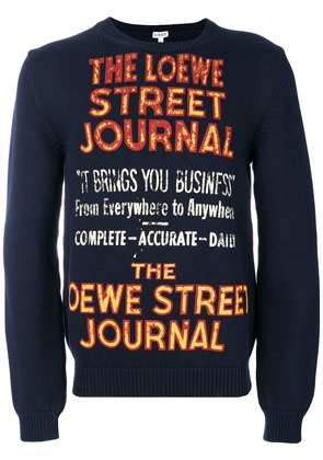 Loewe slogan embroidered sweatshirt - Blue
