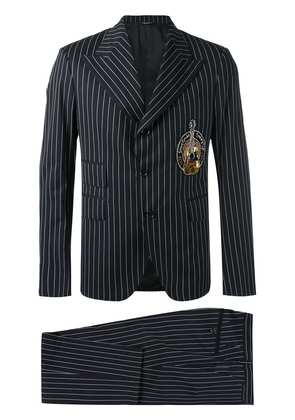 Dolce & Gabbana pinstripe musical patch suit - Black
