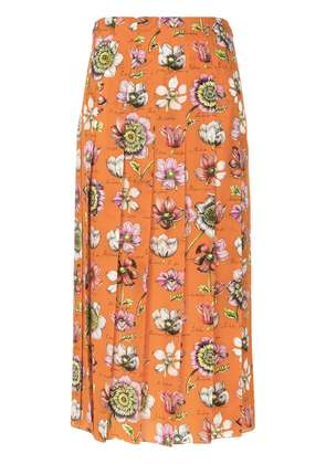 Gucci floral print pleated skirt - Yellow & Orange
