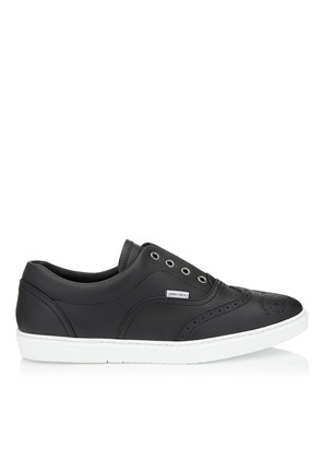 BRIAN Black Calf Leather Slip on Trainers
