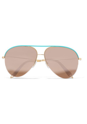 Victoria Beckham - Classic Victoria Aviator-style Gold-tone And Leather Mirrored Sunglasses - one size
