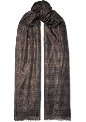 Brunello Cucinelli - Metallic Checked Cashmere-blend Scarf - Gray