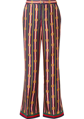 Gucci - Printed Silk-twill Wide-leg Pants - Navy