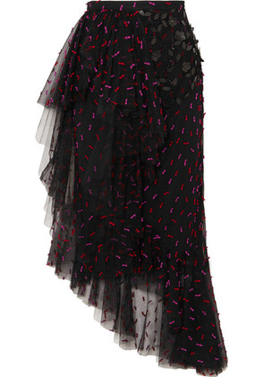 Rodarte - Asymmetric Ruffled Appliquéd Tulle Midi Skirt - Black