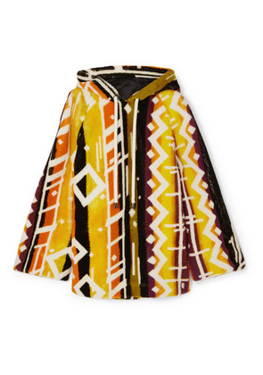 Burberry - Hooded Printed Shearling Poncho - Yellow