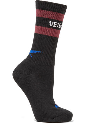 Vetements - + Reebok Intarsia Ribbed Cotton-blend Socks - Black