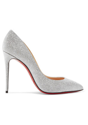 Christian Louboutin - Pigalle Follies 100 Glittered Leather Pumps - Silver