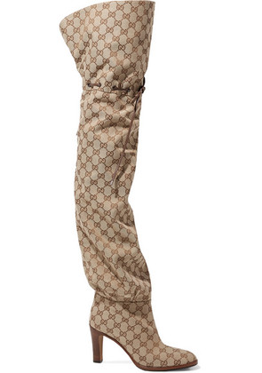 Gucci - Lisa Leather-trimmed Logo-jacquard Over-the-knee Boots - Beige