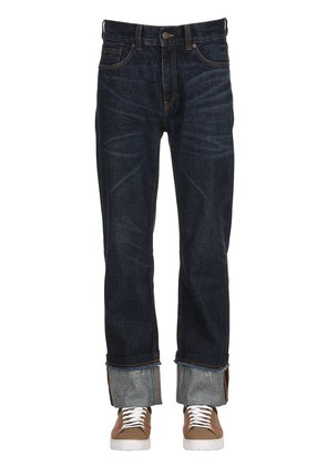 RAW CUT STRAIGHT LEG DENIM JEANS