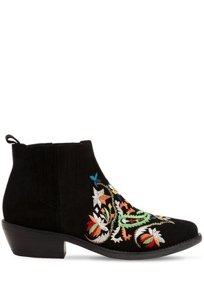 35MM EMBROIDERED SUEDE BOOTS