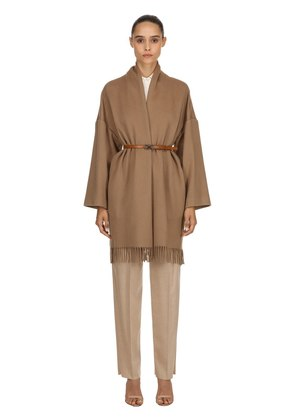 CASHMERE CLOTH FRINGED COAT W/ BELT