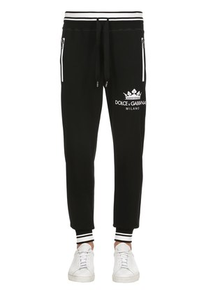 CROWN PRINT COTTON JERSEY SWEATPANTS