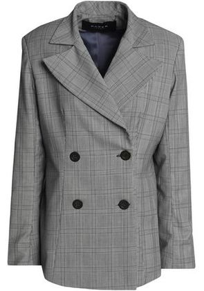 Paper London Woman Double-breasted Prince Of Wales Checked Wool-blend Blazer Black Size 6