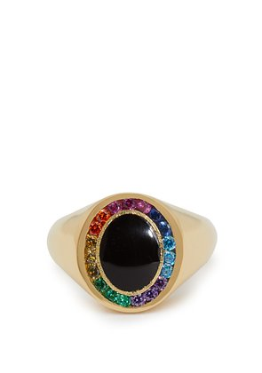 Rainbow Candy 18kt gold & sapphire signet ring