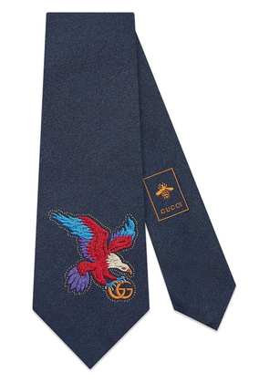 Gucci Eagle embroidered silk tie - Blue